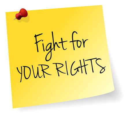 violencia familiar: Luchar por sus derechos Palo Amarillo Vector Papel de nota Vectores