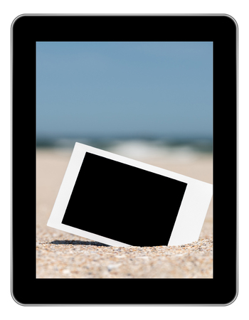 Blank Retro Instant Photo On Beach Sand In Summer On Modern Tablet photo