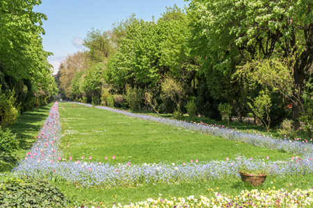 The Cismigiu Gardens Parcul Cismigiu is one of the largest and most beautiful public parks in downtown Bucharest built in 1847. Stock Photo