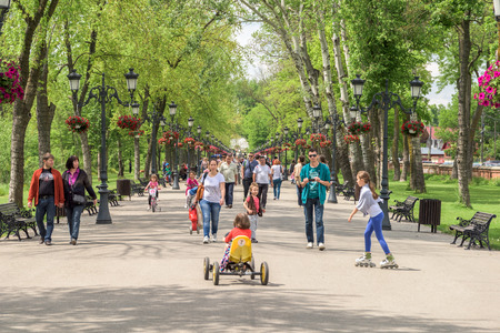 city park: BUCHAREST, ROMANIA - JULY 06, 2015: People Taking A Walk On Hot Summer Day In Mogosoaia Public Park.
