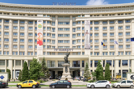 five stars: BUCHAREST, ROMANIA - JULY 28, 2015: JW Marriott Bucharest Grand Hotel Is A Five Star Hotel And One Of The Most Luxurious Hotels Downtown Of Bucharest City.
