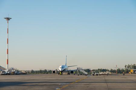 henri: BUCHAREST, ROMANIA - AUGUST 03, 2015: Airplanes On Bucharest Henri Coanda Otopeni International Airport.