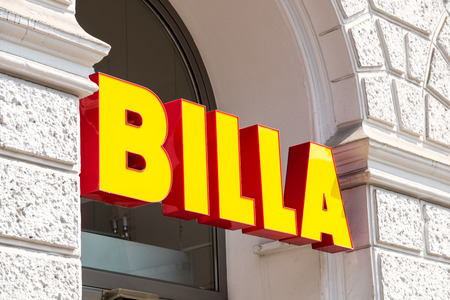 maintains: VIENNA, AUSTRIA - AUGUST 03, 2015: Founded in 1953 Billa is an European supermarket chain originating in Austria, a market where the brand maintains its largest presence with more than 1000 stores.