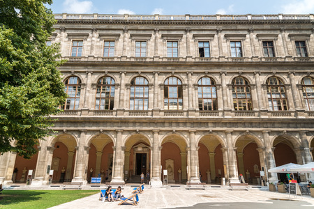 duke: VIENNA, AUSTRIA - AUGUST 03, 2015: The University of Vienna Universitat Wien is a public university founded by Duke Rudolph IV in 1365 and is the oldest university in the German-speaking world.