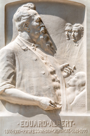 historian: VIENNA, AUSTRIA - AUGUST 03, 2015: Statue Of Eduard Albert At University Of Vienna. He was a Czech surgeon, professor and historian.