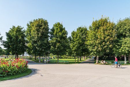 forest park: VIENNA, AUSTRIA - AUGUST 06, 2015: The Volksgarten Peoples Garden is a public park which is part of the Hofburg Palace in the Innere Stadt district of Vienna and was opened to the public in 1823. Editorial