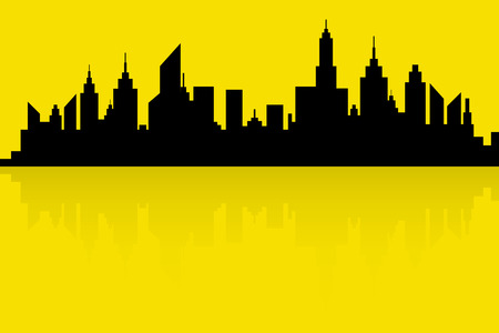 new york silhouette: City Skyline Silhouette Vector In Retro Colors