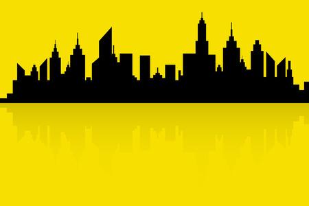 City Skyline Silhouette Vector In Retro Colors