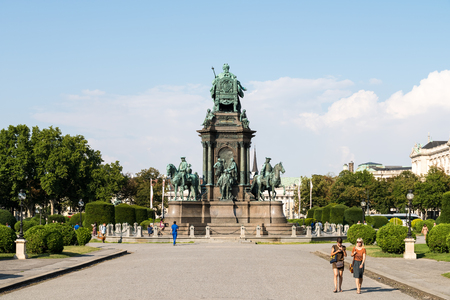 joins: VIENNA, AUSTRIA - AUGUST 06, 2015: Maria-Theresien-Platz is a large public square in Vienna that joins the Ringstrasse with the Museumsquartier.