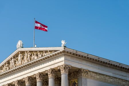 austria flag: Austria Flag On The Austrian Parliament Building Archivio Fotografico
