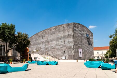 modern art: VIENNA, AUSTRIA - AUGUST 06, 2015: Mumok Museum Moderner Kunst Or Museum of Modern Art is a museum in the Museumsquartier in Vienna that has a collection of 7,000 modern and contemporary art works.