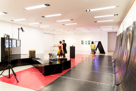andy: VIENNA, AUSTRIA - AUGUST 07, 2015: Mumok Museum Moderner Kunst Or Museum of Modern Art is a museum in the Museumsquartier in Vienna that has a collection of 7,000 modern and contemporary art works.