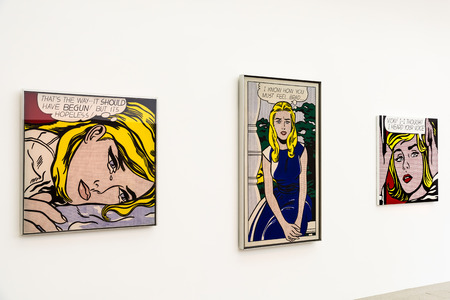 the museum: VIENNA, AUSTRIA - AUGUST 06, 2015: Roy Fox Lichtenstein Paintings At Mumok Museum Of Modern Arts In Vienna. Roy Fox Lichtenstein became a leading figure in the new art movement during the 1960s.