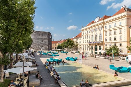 leopold: VIENNA, AUSTRIA - AUGUST 08, 2015: The Museumsquartier is a large area in Vienna and is the eighth largest cultural area in the world contains Baroque buildings as well as Modern architecture.