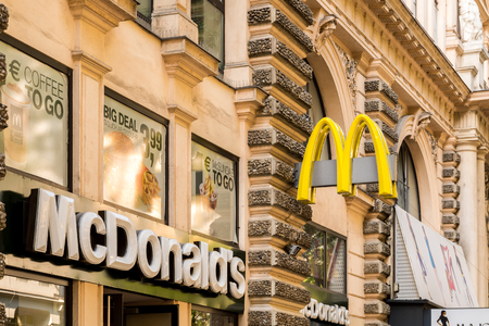 mcdonalds: VIENNA, AUSTRIA - AUGUST 08, 2015: McDonalds was founded in 1940 in The United States it is the worlds largest chain of hamburger fast food restaurants. Editorial