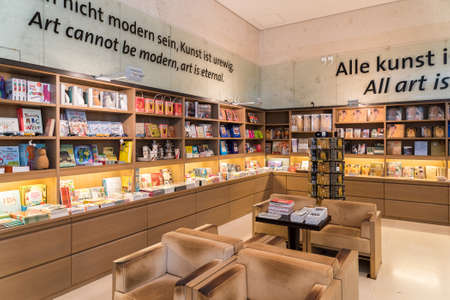 leopold: VIENNA, AUSTRIA - AUGUST 08, 2015: Souvenir Shop At Leopold Museum home to one of the largest collections of modern Austrian art.