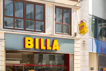 maintains: VIENNA, AUSTRIA - AUGUST 08, 2015: Founded in 1953 Billa is an European supermarket chain originating in Austria, a market where the brand maintains its largest presence with more than 1000 stores.