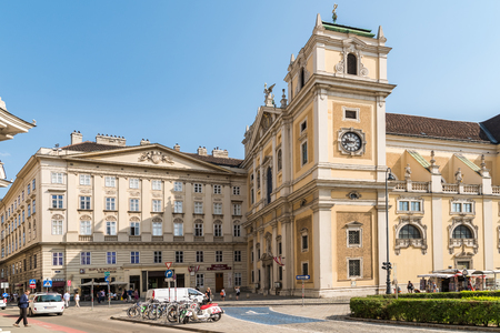 formally: VIENNA, AUSTRIA - AUGUST 09, 2015: The Schottenstift Scottish Abbey, formally called Benedictine Abbey of Our Dear Lady of the Scots, is a Roman Catholic monastery founded in Vienna in 1155.