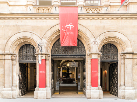 house exchange: VIENNA, AUSTRIA - AUGUST 09, 2015: Palais Ferstel originally housed the Austro-Hungarian National Bank and the Stock Exchange as well as bazaar and a cafe popular with artists and men of letters.
