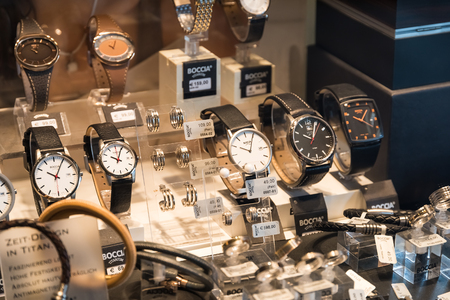 shop window display: VIENNA, AUSTRIA - AUGUST 09, 2015: Luxury Watches For Sale In Shop Window Display.