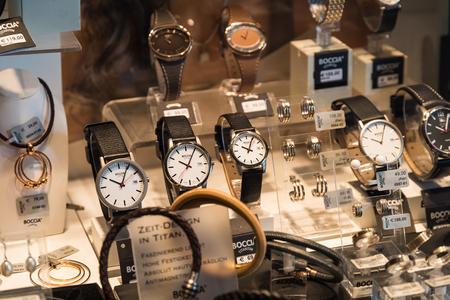 timepiece: VIENNA, AUSTRIA - AUGUST 09, 2015: Luxury Watches For Sale In Shop Window Display.