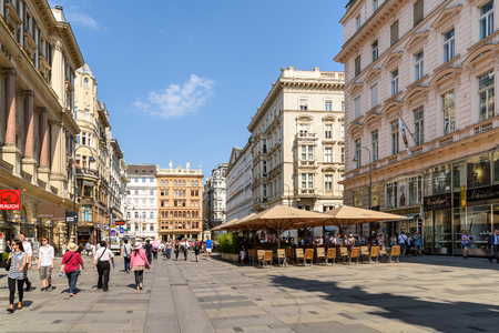 VIENNA, AUSTRIA - AUGUST 10, 2015: Graben is one of the most famous streets in Viennas first district city centre and one of the most important promenades and shopping streets in Vienna.