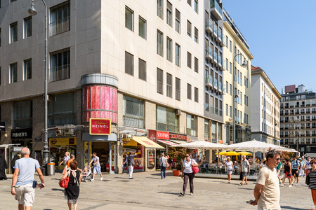 stephansplatz: VIENNA, AUSTRIA - AUGUST 10, 2015: Stephansplatz is a square at the geographical centre of Vienna and is named after its most prominent building, the Stephansdom, Viennas cathedral.