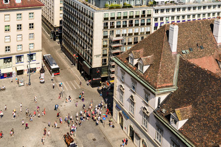 saint stephen cathedral: VIENNA, AUSTRIA - AUGUST 10, 2015: Stephansplatz is a square at the geographical centre of Vienna and is named after its most prominent building, the Stephansdom, Viennas cathedral.