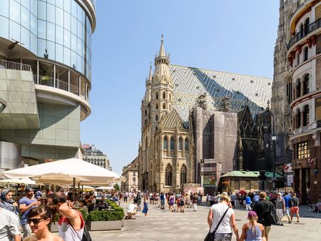 catholic church: VIENNA, AUSTRIA - AUGUST 15, 2015: Built In 1147 Saint Stephens Cathedral Stephansdom is the mother church of the Roman Catholic Archdiocese of Vienna and the seat of the Archbishop of Vienna. Editorial