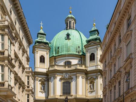 church architecture: VIENNA, AUSTRIA - AUGUST 15, 2015: Built In 1733 Peterskirche Saint Peter Church is a Baroque Roman Catholic Parish Church in Petersplatz On Graben Street Of Vienna City.