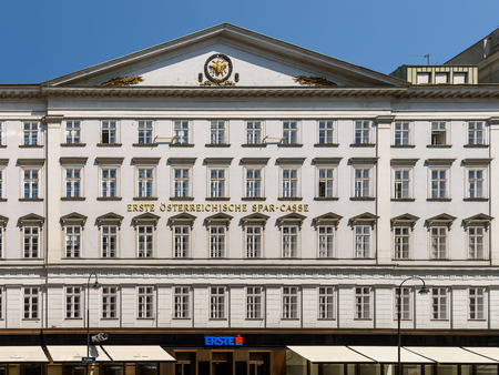 providers: VIENNA, AUSTRIA - AUGUST 15, 2015: Erste Group Bank AG is one of the largest financial services providers in Central and Eastern Europe serving 16.2 million clients in 2,700 branches in 7 countries.