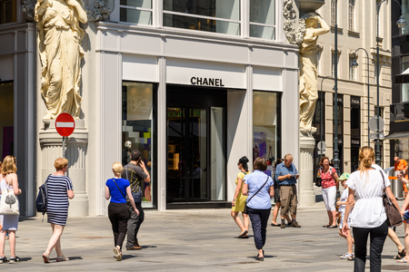 luxury goods: VIENNA, AUSTRIA - AUGUST 15, 2015: Chanel is a high french fashion house that specializes in haute couture and ready-to-wear clothes, luxury goods and fashion accessories.