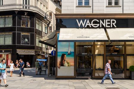 firms: VIENNA, AUSTRIA - AUGUST 15, 2015: Founded in 1917 Juwelier Wagner is one of the few jewellery firms in Austria which has both a state-of-the-art in-house jewellery workshop and a watch workshop.
