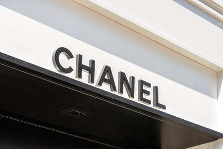 shop sign: VIENNA, AUSTRIA - AUGUST 15, 2015: Chanel is a high french fashion house that specializes in haute couture and ready-to-wear clothes, luxury goods and fashion accessories.