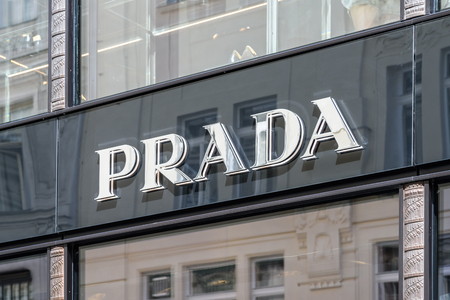 prada: VIENNA, AUSTRIA - AUGUST 15, 2015: Prada is an Italian luxury fashion house, specializing in ready-to-wear leather and fashion accessories, shoes, perfumes, watches founded in 1913 by Mario Prada.