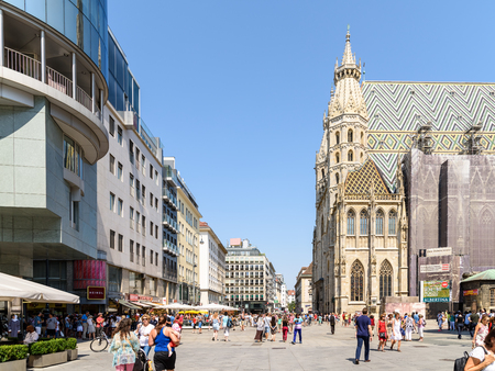 stephansplatz: VIENNA, AUSTRIA - AUGUST 20, 2015: Stephansplatz is a square at the geographical centre of Vienna and is named after its most prominent building, the Stephansdom, Viennas cathedral.