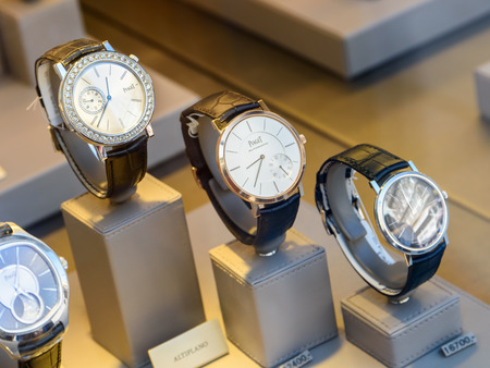 shop window display: VIENNA, AUSTRIA - AUGUST 15, 2015: Luxury Watches For Sale In Shop Window Display.