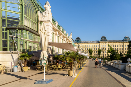 glasshouse: VIENNA, AUSTRIA - AUGUST 15, 2015: Palmenhaus Or The Palm House glasshouse is a building located on the edge of the castle garden near the Albertina and the State Opera. Editorial