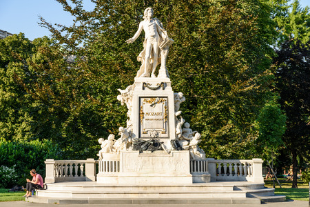 amadeus: VIENNA, AUSTRIA - AUGUST 20, 2015: Created in 1896 Wolfgang Amadeus Mozart Statue Is Located in the Burggarten in Vienna.