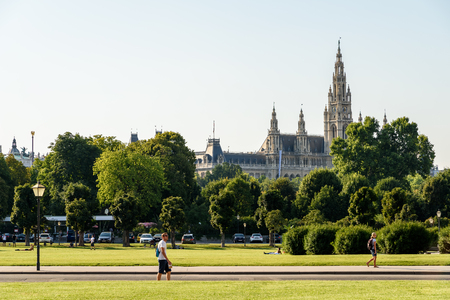 cityhall: VIENNA, AUSTRIA - AUGUST 20, 2015: Built In 1883 The Rathaus Town Hall is a building in Vienna which serves as the seat both of the mayor and city council of the city of Vienna. Editorial