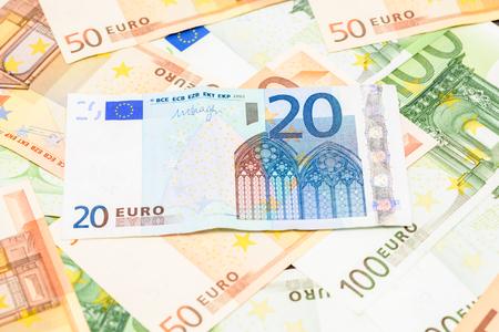 twenty euro banknote: Twenty Euro Banknote On Euro Bills Background