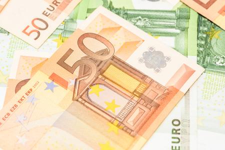 fifty euro banknote: Fifty Euro Banknote On Euro Bills Background