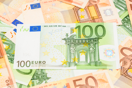 banknote: One Hundred Euro Banknote On Euro Bills Background