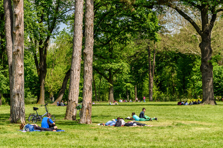 picnic food: BUCHAREST, ROMANIA - AUGUST 24, 2015: People Having Picnic And Playing Games In Mogosoaia Public Park On Summer Day.