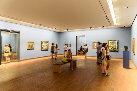 monet: VIENNA, AUSTRIA - AUGUST 20, 2015: Albertina museum in Vienna houses one of the largest and most important print rooms in the world with approximately 65,000 drawings and 1 million old master prints.