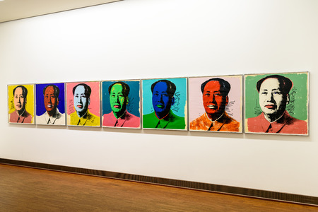 museums: VIENNA, AUSTRIA - AUGUST 20, 2015: Andy Warhol Paintings At Albertina Museum In Vienna. Andy Warhol was an American artist who was a leading figure in visual art movement known as pop art.