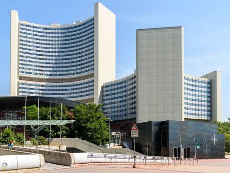 naciones unidas: VIENNA, AUSTRIA - AUGUST 20, 2015: The United Nations Office in Vienna UNOV is one of the four major UN office sites and is part of the Vienna International Centre. Editorial
