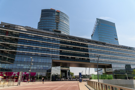 andromeda: VIENNA, AUSTRIA - AUGUST 20, 2015: Unisys Andromeda Tower And Tech Gate Tower Skyscraper In The Donaucity District Of Vienna City.