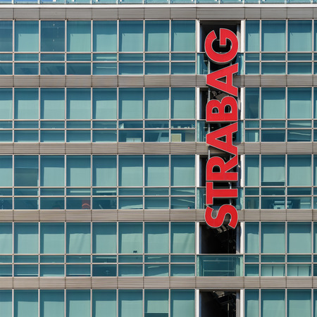 construction companies: VIENNA, AUSTRIA - AUGUST 20, 2015: Strabag is an European construction company and is the largest construction company in Austria and one of the largest construction companies in Europe. Editorial