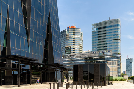 andromeda: VIENNA, AUSTRIA - AUGUST 20, 2015: DC Tower 1, Unisys Andromeda Tower And Tech Gate Tower Skyscraper In The Donaucity District Of Vienna City.